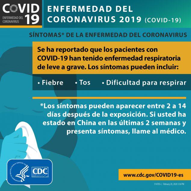 Infográfico sobre el Coronavirus, cortesía de la CDC