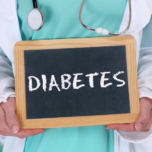 Pizarra con la palabra diabetes