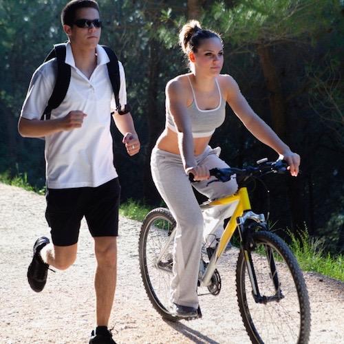 correr o bicicleta